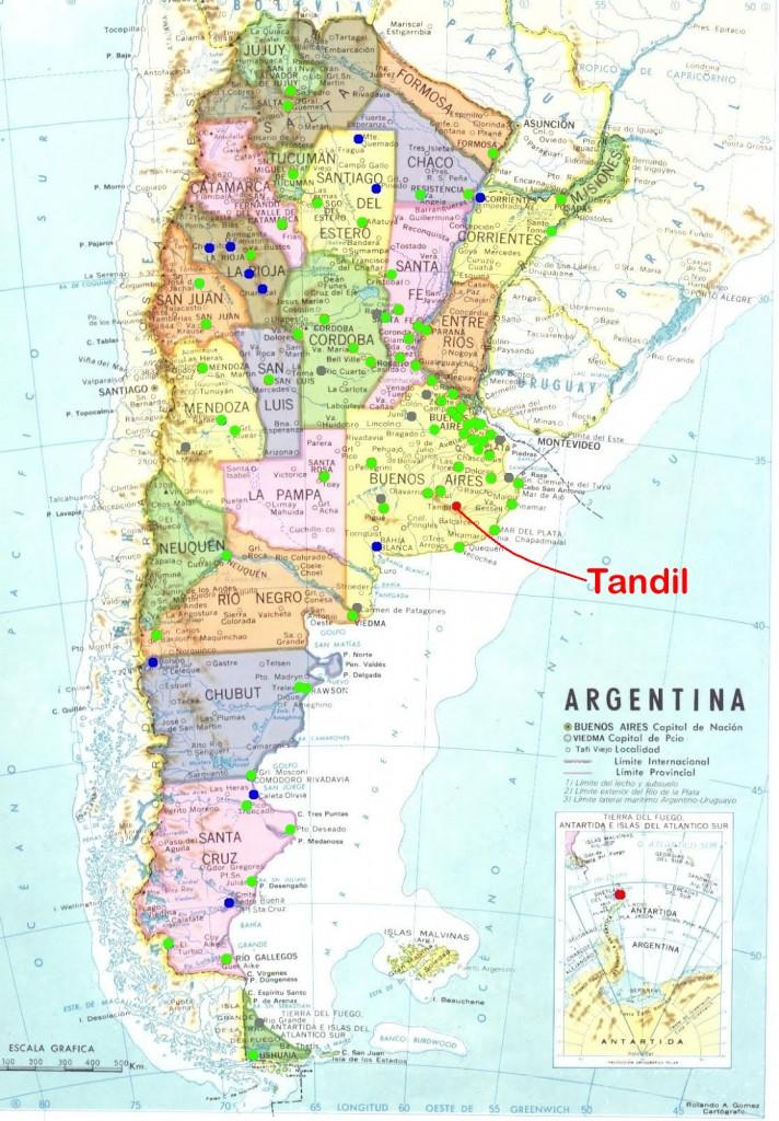 ubicación de Tandil en Argentina